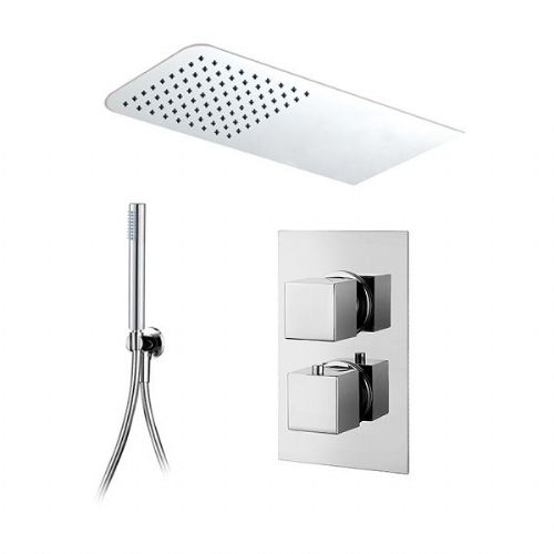 Abacus Emotion Thermostatic Square Concealed Shower Mixer Rectangular Head Slimline Handset Chrome